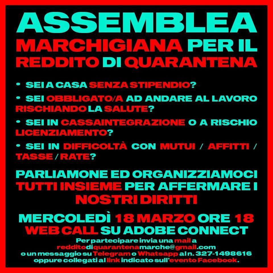 Marche – Assemblea web Regionale x il #RedditodiQuarantena
